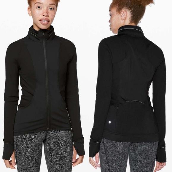 Lululemon Far and Free Black Hood Jacket Slim Fit